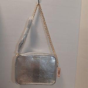 NWOT Shiny Silver Victorias Secret Shoulder Bag